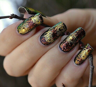Cute Women Gold Peacock Feather nail Stickers Decals Nail Art tip decoration UGT