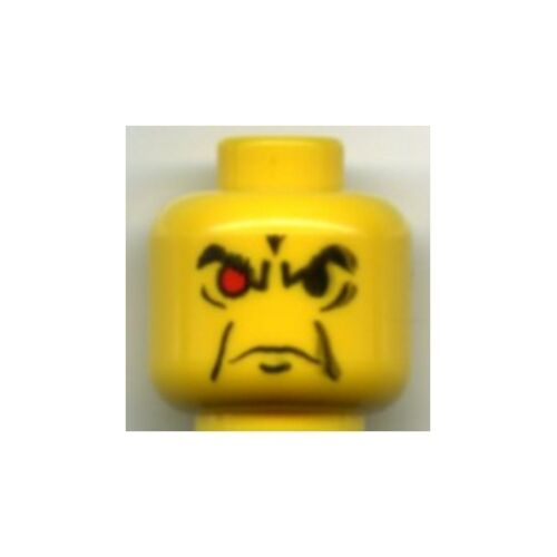 Head Male Angry Eyebrows and 1 Red Eye Pattern Minifig Yellow LEGO