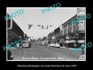 OLD-LARGE-HISTORIC-PHOTO-OF-ELLENSBURG-WASHINGTON-PEARL-STREET-amp-STORES-c1950