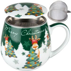 SET-Kuschel-BECHER-SIEB-DECKEL-Weihnachten-Weihnachtselch-Tasse-420ml-Tee-Kaffee