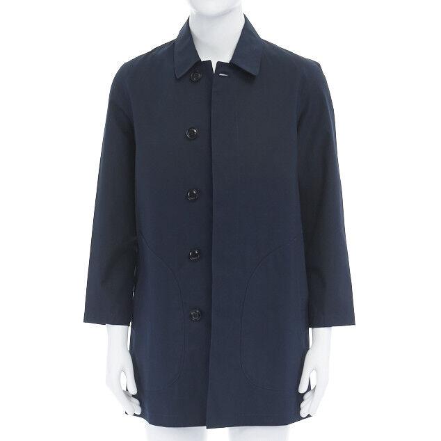 CLUB MONACO navy bluee contrast stripe lining cotton Mac coat S