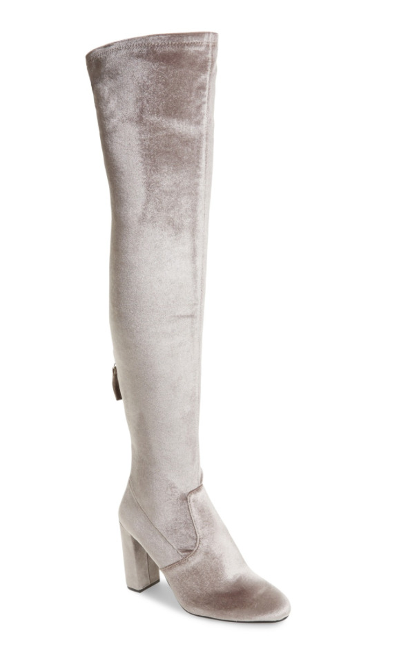 Steve Madden Emotionv Women's Grey Velvet Over Knee Boot Sz 7 2651 *