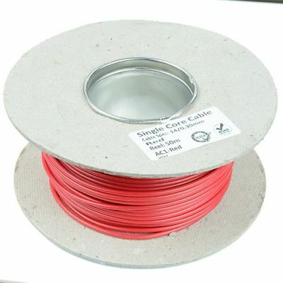 50M METRE ROLL//REEL GREEN SINGLE CORE CABLE//WIRE 8.75AMP 14 STRAND 1mm 1.00mm²