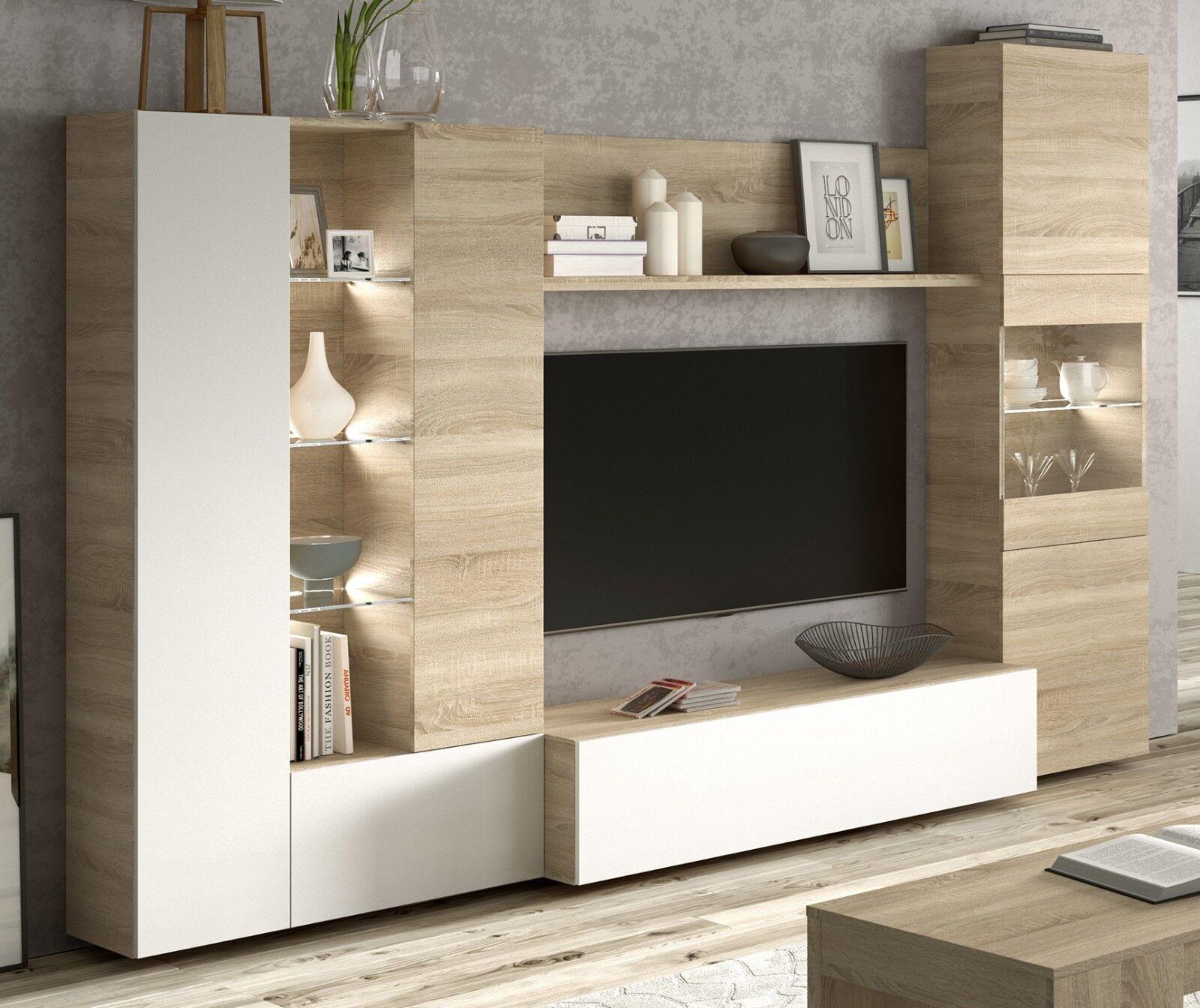 Mueble modular salon comedor con luz LED estilo moderno cristal 260x185x42 cm