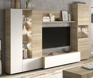 Mueble modular salon comedor con luz LED estilo moderno cristal ...