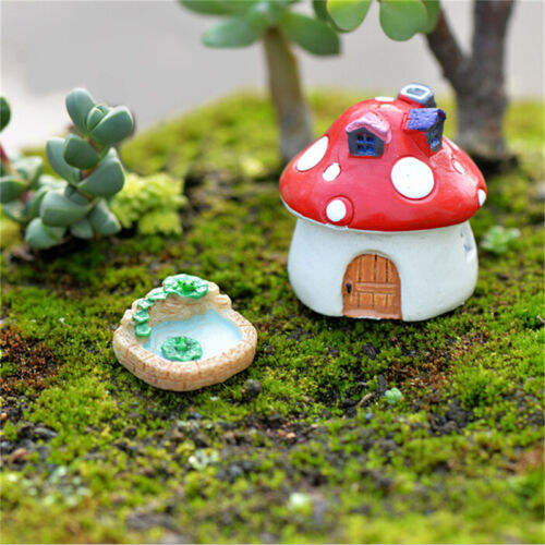 1xResin Moss micro landscape ornaments lotus pool mix size fairy garden decor FO