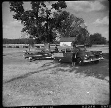 CR89 Photo 2x2 Negative 1950's Tulsa OK Area Vintage Chevy Car Outboard Boat