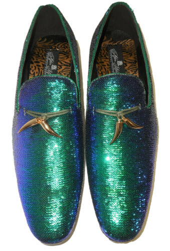 AM 6759 S Mens Dress Loafers Shoes Peacock Blue Green Purple Shiny Sequin