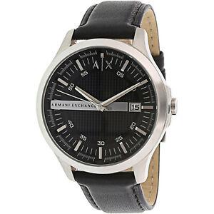 Armani-Exchange-Men-039-s-AX2101-Black-Leather-Japanese-Quartz-Dress-Watch