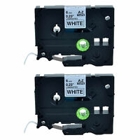 2Pack 6mm Black on White TZ 211 TZe211 0.24'' Label Tape For Brother P-touch