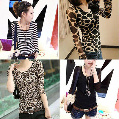 Sell hot Sexy Long Sleeve Tops Slim T-Shirt Blouses Bottoming Shirt Leopard