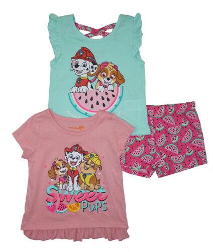 Paw Patrol Girls Peach /& Multi Color 3pc Short Set Size 2T 3T 4T 4 5 6 6X