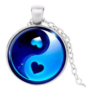 Collier Pendentif double coeur Yin & Yang, Chaine argenté.