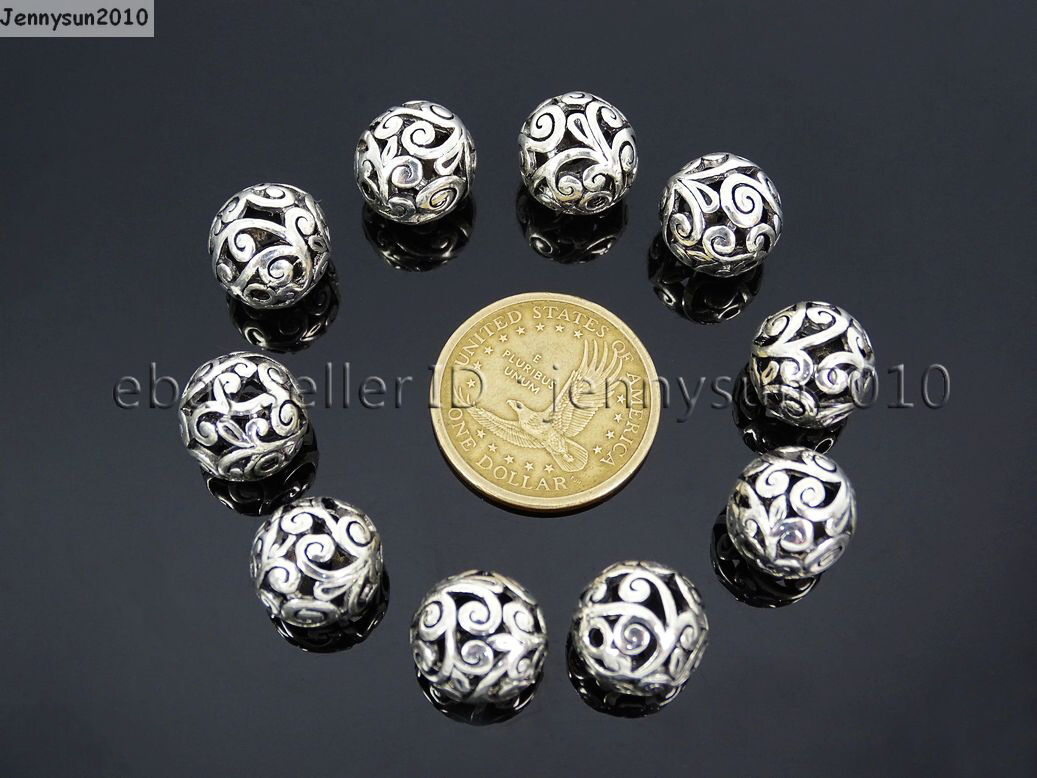 50Pcs Tibetan Silver Hamsa Hand Palm Hand Spacer Beads Fit Bracelet 13x15mm