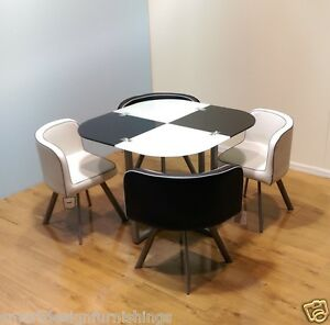 Image Is Loading Glass Dining Table And 4 Chairs RETRO DESIGN