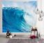 Blue Wave Pattern Tapestry Ocean Landscape Wall Hanging Home Bedspread Decor