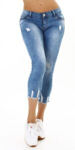 Jeans Ladies Skinny Jeans 7/8 Jeans Trousers Used Look Push Up