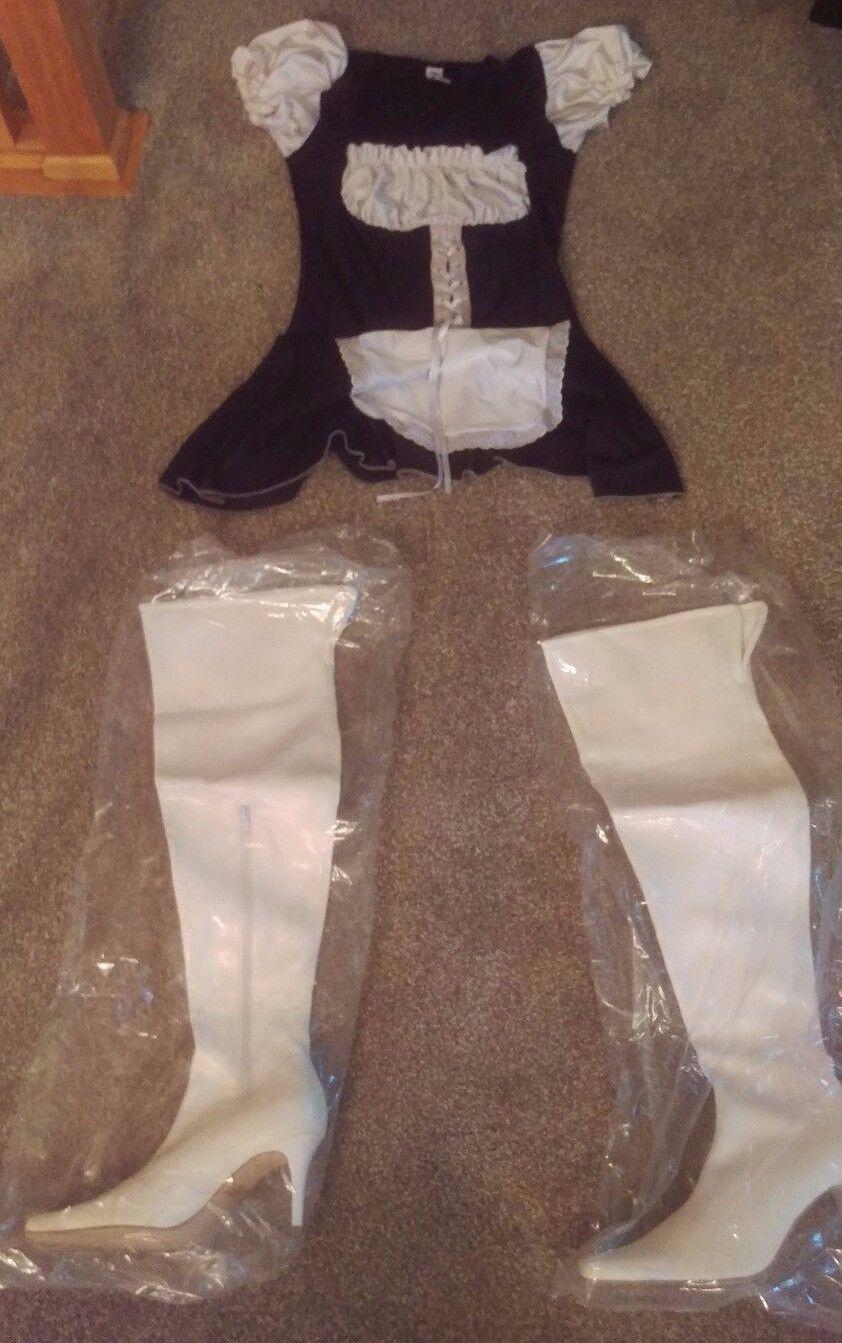 Carrini CA Thigh High White Stripper Boots Wet Heel w  Naughty Maid Costume sz 8