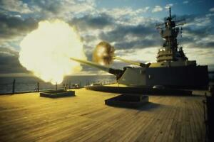 Guns-Firing-From-the-USS-Iowa-Photo-Art-Print-Mural-inch-Poster-36x54-inch