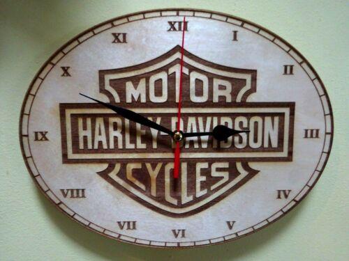 Harley Davidson Wall Clock  engraved on wood man cave gift item