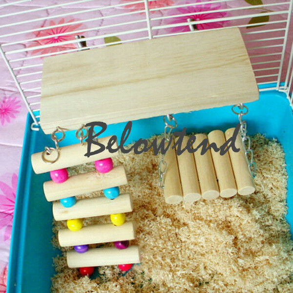 Hamster Mouse Rat Gerbil Parrot Bird Wooden Ladder Bridge Stairs Play Toy