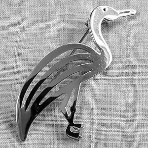 Graceful-EGRET-or-bird-pin-brooch-Mexican-in-sterling-silver-925