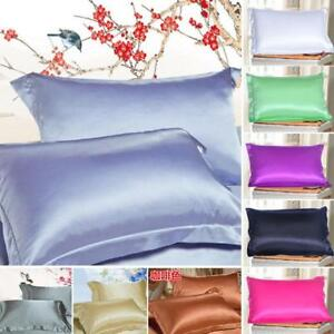 Bedding-Silk-Like-Satin-Soft-Cushion-Cases-Bedding-Fitted-Taies-d-039-oreiller