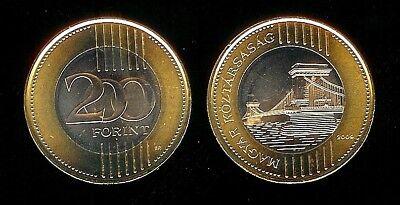 HUNGARY BIMETAL 200 FORINT UNC COIN 2009 YEAR