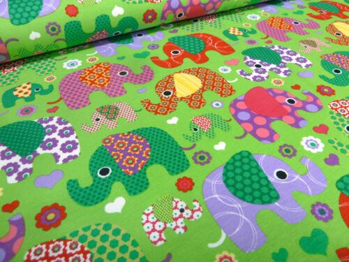 Stoff Baumwolle Jersey Elefanten Blumen Herzen Druck grün bunt Kinderstoff