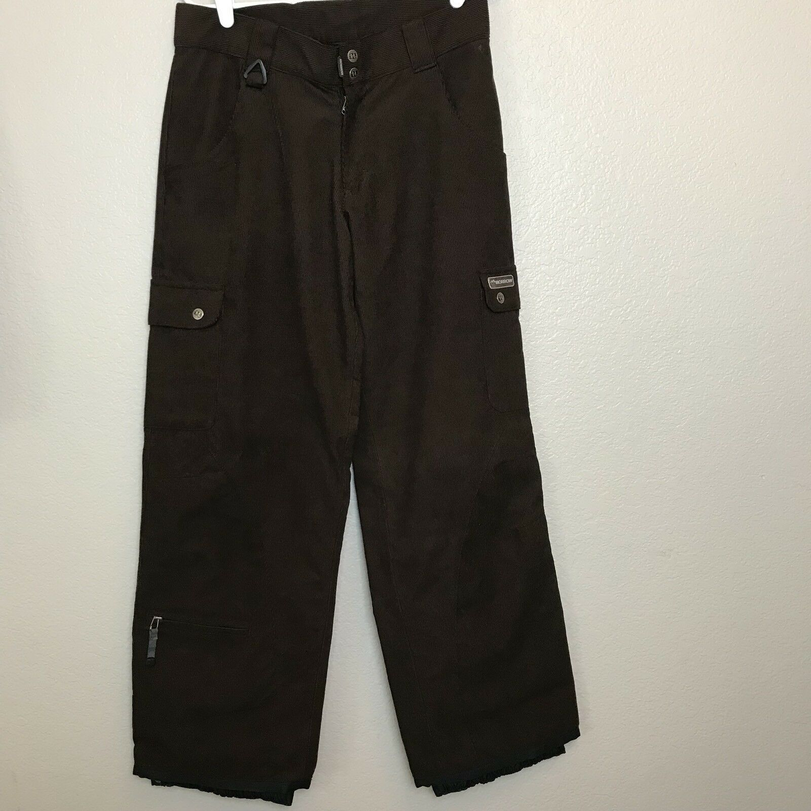 Morrow Snowboard Pants Womens Size Med Corduroy Chocolate Brown Cargo B48