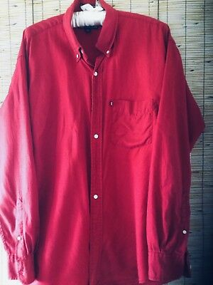 Ralph Lauren Chaps Red Cotton L/s Casual Dress Shirt Dress Shirts Size 16/34 Utmost In Convenience
