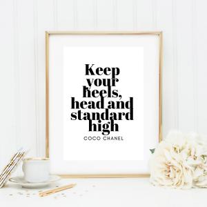 Details Zu Bild Kunstdruck Din A4 Coco Chanel Spruch Zitat Keep Your Head Typographie Neu