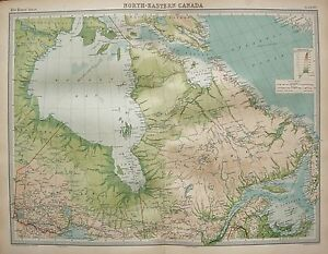 1920 LARGE MAP CANADA NORTH EAST ONTARIO QUEBEC ST LAWRENCE HUDSON