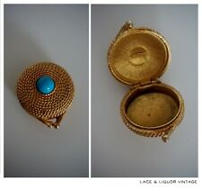 PRETTY vtg 1960s ESTEE LAUDER SOLID PERFUME CONTAINER CASE 1970s GOLD TURQUOISE