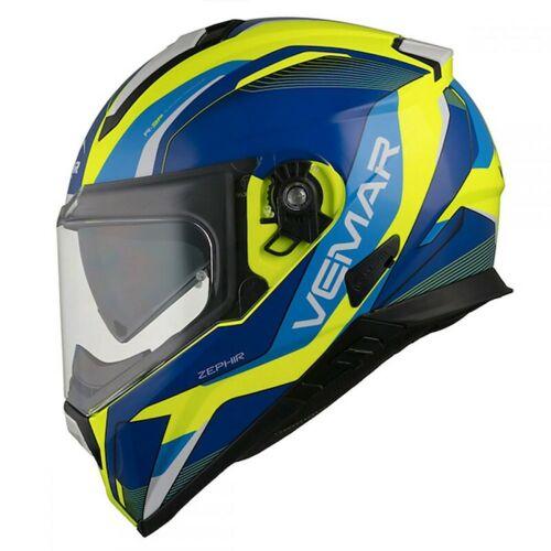 Casco Moto Integrale Vemar T1041E05Z024 Zephir Lunar Giallo Blu