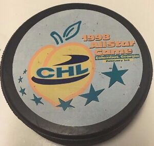 1998 Central Hockey League CHL All-Star Game Used Hockey Puck Columbus, GA