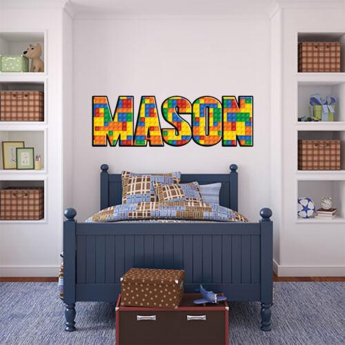 LEGO Briques Personnalisé Nom Personnalisé Autocollant Wall Sticker Mural Home Decor WP08