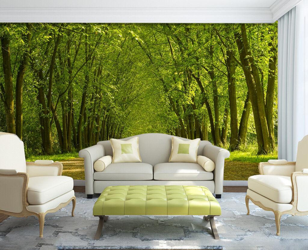 3D Grün trees road 657 Wall Paper Print Decal Wall Deco Indoor wall Mural