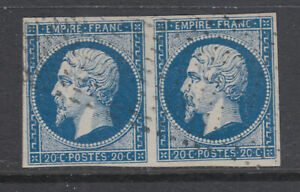 France-Sc-16a-used-1853-60-20c-blue-on-greenish-Napoleon-pair-4-wide-margins