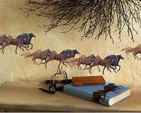 15 Wild Horses Horse Wallies Western Equestrian Murals Border Sticker Decal Barn