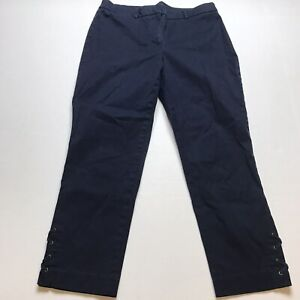 Talbots Dark Blue Crop Capri Lace Up Detail Pants Sz 8 A996