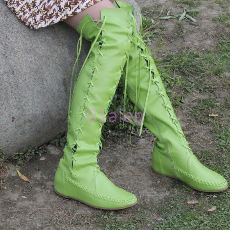 Mujer Cuero Con Cordones encima la de la encima rodilla alta botas Vintage Roma Mocasines de Moda 803139