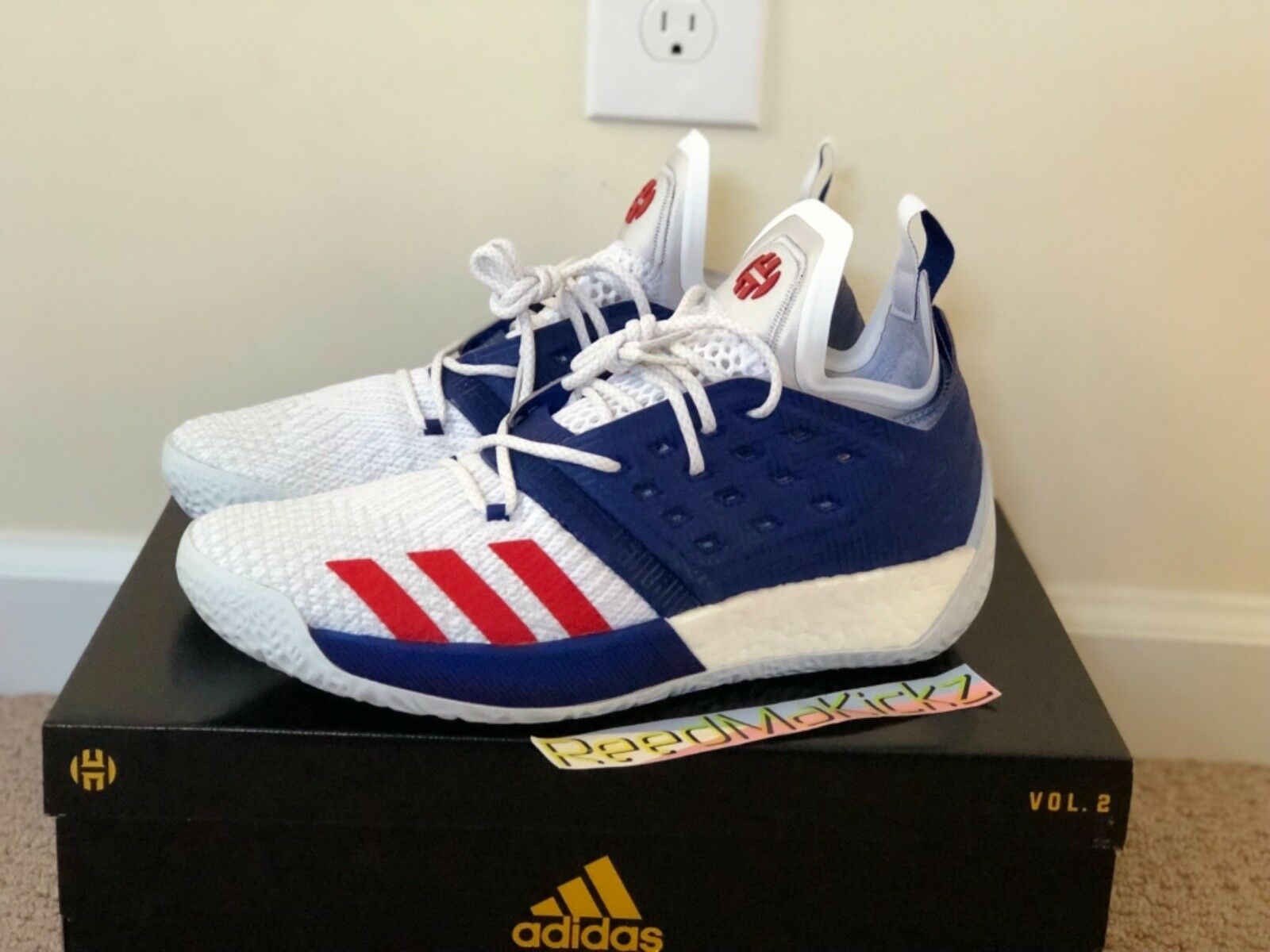 Adidas James Harden Vol 2 USA White bluee Red Mens sizes  AQ0026