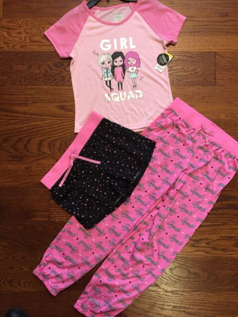 9553513df2fd Girls Pajama Set Joe Boxer 3 Piece Medium 7-8 Pink Girl Squad ...