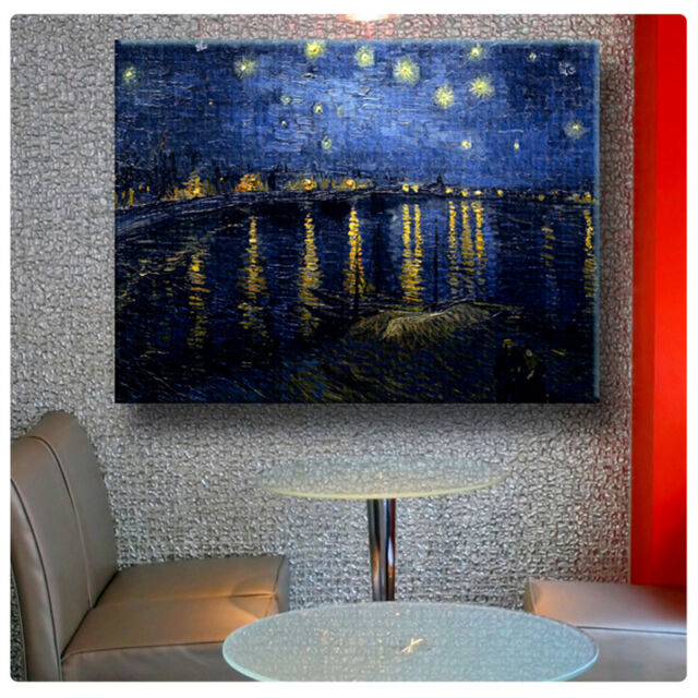 HUGE Canvas Van Gogh Starry Night Over the Rhone 36x27 inch photo poster decor