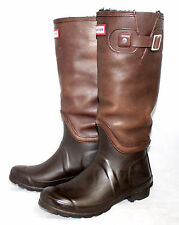 HUNTER Wo's 7-7.5 Eu 38 Brown Leather Shearling Lined Rubber Winter Snow Boot