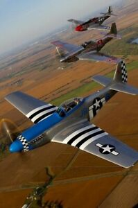 P-40-Mustang-airplane-aviation-Vintage-Retro-War-in-color-Photo-WW2-Size-4x6-Q