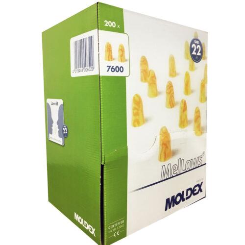 Box of Moldex MelLows 7600 Earplugs Soft Foam Protection Lower Noise SNR:22 dB
