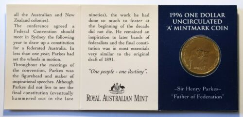 1996 A Australia Sir Henry Parkes Dollar $1 BU Coin RAM Card 29k Minted CV=$20