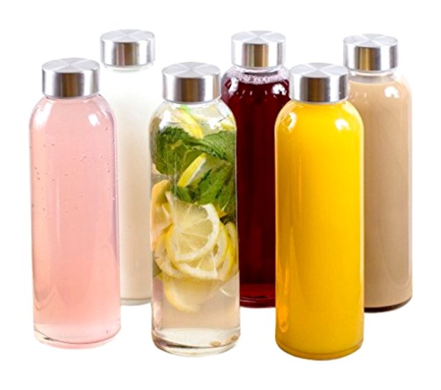 Glass Water Juice Beverage Bottles Stainless Steel Cap Case of 6 Clear 16 oz